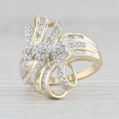 AU489.55 • Buy 0.42ctw Diamond Cluster Bypass Ring 10k Yellow Gold Size 7 1/4 Cocktail
