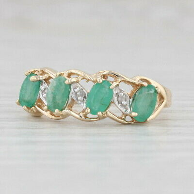 AU258.52 • Buy 1ctw Emerald Diamond Ring 10k Yellow Gold Size 7 Stackable May Birthstone