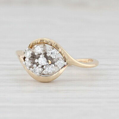 AU489.54 • Buy Diamond Cluster Ring 14k Yellow Gold Size 6.25 Bypass