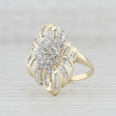 AU489.54 • Buy 0.51ctw Diamond Cluster Ring 10k Yellow Gold Size 9 Knotwork Cocktail