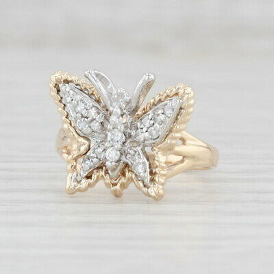 AU576.18 • Buy 0.20ctw Diamond Butterfly Ring 14k White Yellow Gold Size 6.25 Statement