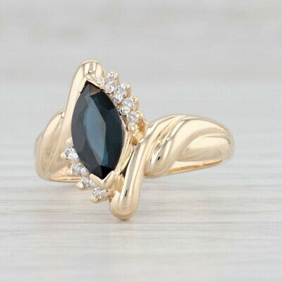 AU605.05 • Buy 1.29ctw Blue Sapphire Diamond Ring 14k Yellow Gold Size 7 Marquise Solitaire