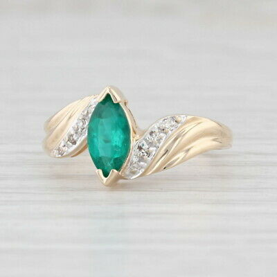 AU359.59 • Buy 0.72ctw Synthetic Emerald Diamond Bypass Ring 14k Yellow Gold Size 7 Marquise