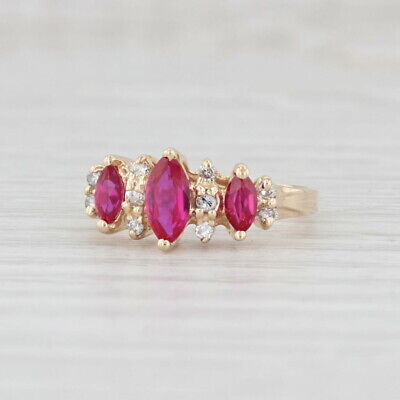 AU345.16 • Buy 1.05ctw Synthetic Ruby Diamond Ring 14k Yellow Gold Size 5.75 Marquise 3-Stone