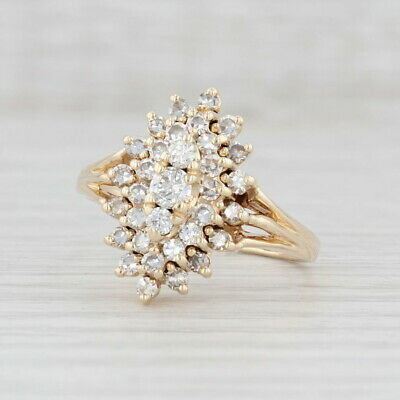 AU1023.80 • Buy 0.90ctw Diamond Cluster Halo Ring 14k Yellow Gold Size 9.25 Cocktail