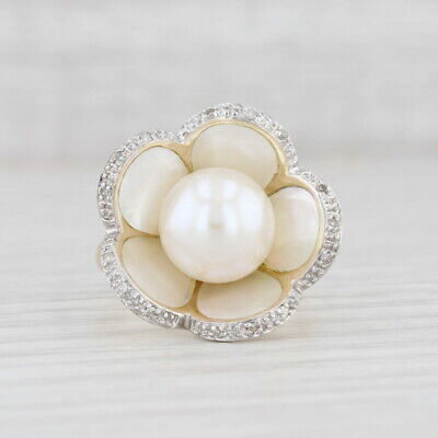 AU691.69 • Buy Cultured Pearl Mother Of Pearl Diamond Flower Ring 14k Yellow Gold Size 8.25
