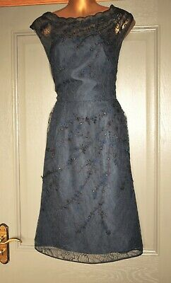 AU3.20 • Buy Monsoon Navy Blue Lace Embroidered Formal Occasion Wedding Party Dress Size 12