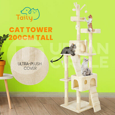 AU74 • Buy Taily Cat Tree Trees Scratching Post Scratcher Tower Condo House Bed 200CM Beige
