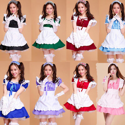 £18.99 • Buy Women Cosplay Maid Outfit Fancy Dresses Uniform Ruffle Lolita French Partywear&&