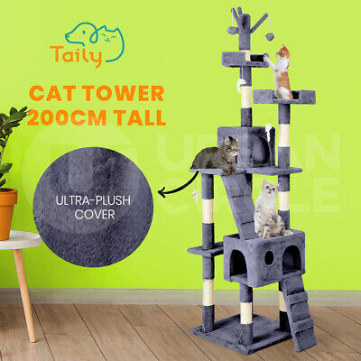 AU85 • Buy Taily Cat Tree Trees Scratching Post Scratcher Tower Condo House Bed 200CM Grey