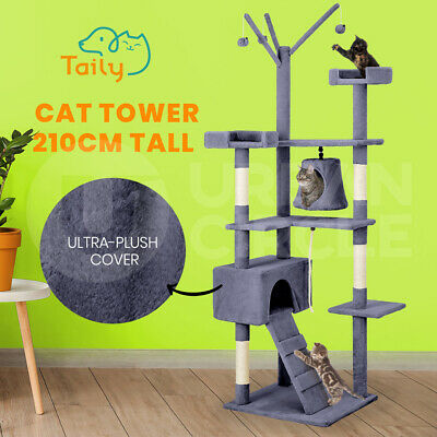 AU89 • Buy Taily Cat Tree 210CM Cat Scratching Post Scratcher Tower Cat Condo House Grey
