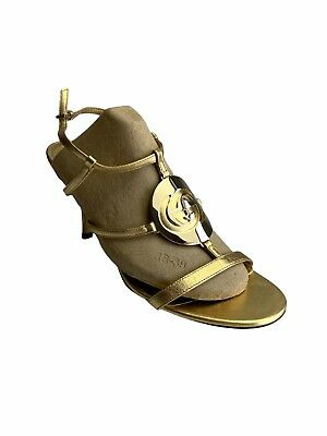 AU120 • Buy Gucci Gold GG STRAPPY SLING BACK KITTEN HEEL SHOES SUMMER SANDALS NEAR NEW 37.5