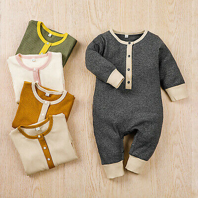 £12.99 • Buy Newborn Baby Boys Girls  Button Long Sleeve Knitted  Romper Jumpsuit Outfits