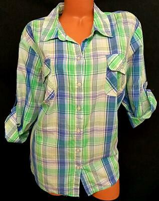 £2.19 • Buy Croft & Barrow Blue Green Plaid 3/4 Sleeves Front Pockets Buttoned Down Top 3X