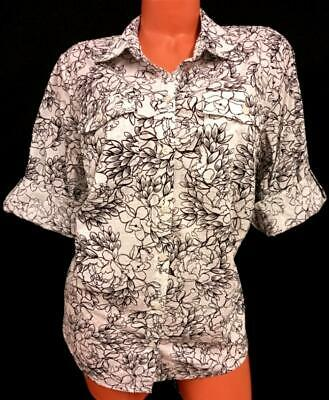 £0.72 • Buy Croft & Barrow White Black Floral Print Button Down Roll Up Sleeve Top 1X