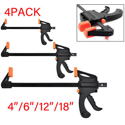 £19.09 • Buy 4PACK 4''6 12 18'' Wood Working F Clamp Quick Release Ratchet Clamp Spreader Bar