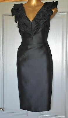 AU37.64 • Buy Coast Black Ruffle Fitted Formal Occasion Wedding Pencil Party Dress Size 18