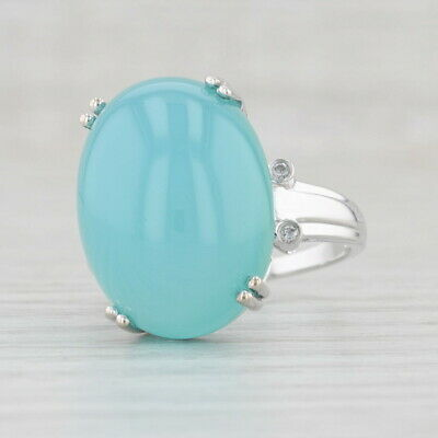 AU606.09 • Buy Blue Chalcedony Diamond Ring 10k White Gold Size 8.25 Oval Solitaire