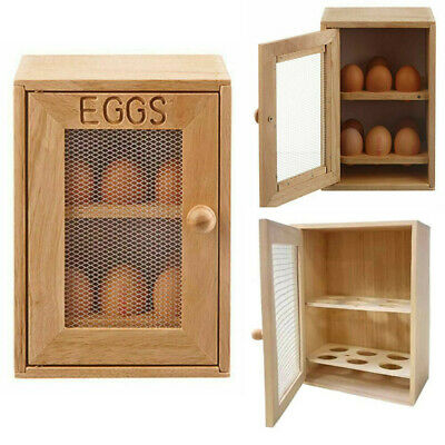 £6.52 • Buy 2 Tier Wooden Kitchen 12 Eggs Storage Box Container Cupboard Cabinet House Rack