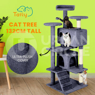 AU75.90 • Buy Taily Cat Tree Scratching Post Scratcher Tower Condo House Bed Stand 132CM Grey