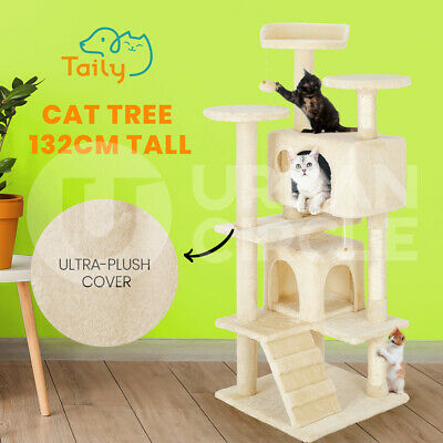 AU67 • Buy Taily Cat Tree Scratching Post Scratcher Tower Condo House Bed Stand 132CM Beige