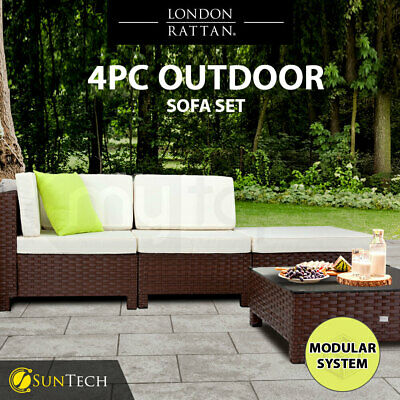 AU539 • Buy 【EXTRA10%OFF】 4pc Outdoor Furniture Setting Lounge Wicker Patio Sofa Set