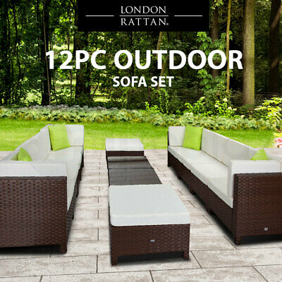 AU1549 • Buy 【EXTRA10%OFF】12pc Outdoor Lounge Furniture Setting Patio Brown Wicker Sofa S