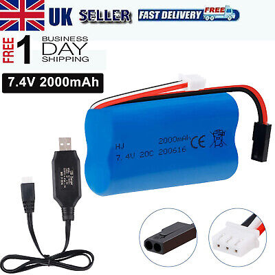 £13.99 • Buy 7.4V 2000mAh 20C Lipo Battery Rechargeable W/ USB Cable 5500-2P Plug For RC Car