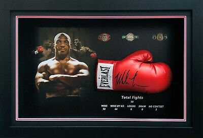 AU795 • Buy Mike Tyson Hand Signed Boxing Glove Framed BAS Certified Photo Of Signing
