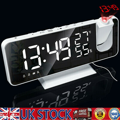 £20.89 • Buy LED Digital Projection Alarm Dual Clock FM Radio Snooze Dimmer Ceiling Projector