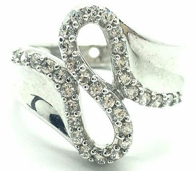 £27.56 • Buy Sterling Silver 925 CZ Cubic Zirconia S Fold Curve Infinity Cocktail Band Ring