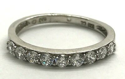 £21.97 • Buy Sterling Silver Channel Set CZ Half Eternity Petite Wedding / Cocktail Ring 7.25
