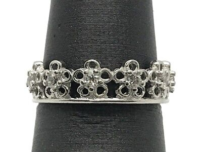 £27.56 • Buy Sterling Silver Elegant CZ Accent Openwork Flower Eternity Cocktail Band Ring