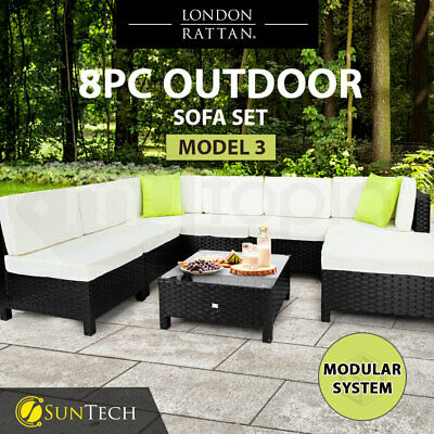AU1029 • Buy 【EXTRA10%OFF】8pc Outdoor Lounge Furniture Setting Patio Wicker Sofa Set