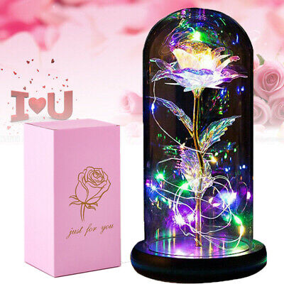 AU25.59 • Buy Eternal Forever Rose Flower In Glass LED Light Up Galaxy Valentine's Day Gift AU