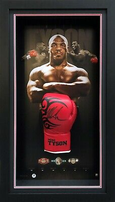 AU795 • Buy Mike Tyson Hand Signed Boxing Glove Framed LGM Certified Photo Of Signing