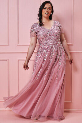 £69.99 • Buy Goddiva Pink Sequin Inserts Maxi Evening Dress Ballgown Prom Party RRP £120