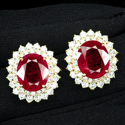 AU40.39 • Buy Ruby Blood Red Oval 17 Ct. Sapphire 925 Sterling Silver Gold Earrings Jewelry