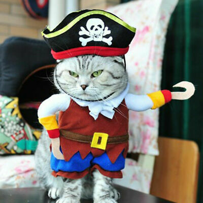 £4.99 • Buy Pet Dog Cat Pirate Costume Outfit Suite Halloween Clothes Caribbean Cosplay