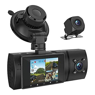 AU168.53 • Buy 3 Channel 1080P FHD Dash Cam With GPS Front Inside And Rear Car Camera Record...
