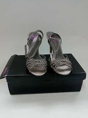 £4.99 • Buy Size 5 Jones Bootmaker Strappy Taupe Satin Shoes Boxed