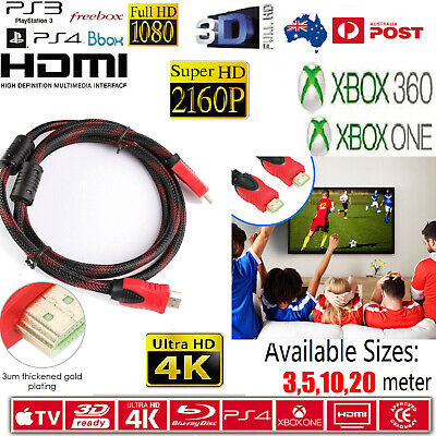 AU9.99 • Buy HDMI Cable 3D Ultra HD 4K 2160p 1080p High Speed With Ethernet HEC ARC V1.4 20M