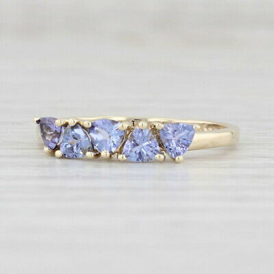 £109.32 • Buy New 0.76ctw Tanzanite Ring 10k Yellow Gold Size 7 Trillion Stackable 5-Stone