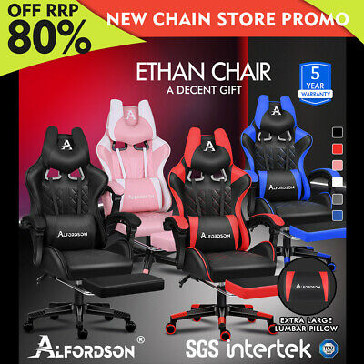 AU169.85 • Buy ALFORDSON Gaming Chair Office Executive Racer Larger Lumbar Cushion Seat Leather