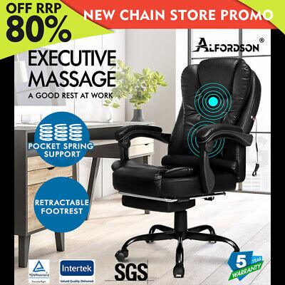 AU184.85 • Buy ALFORDSON Massage Office Chair Footrest Executive Gaming Racing Seat PU Leather