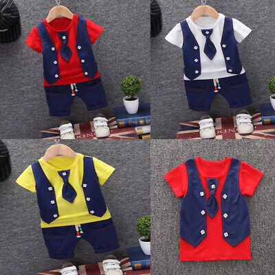 £12.99 • Buy Toddler Kids Baby Boys Waistcoat Tie T Shirt Tops Shorts Outfits Clothes Set