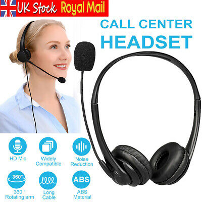 £9.99 • Buy USB Wired Call Center Headset Noise Cancelling Headphone With Microphone MIC UK