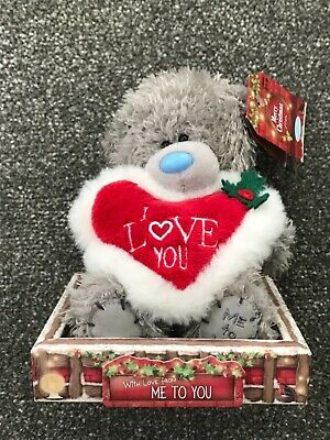 £3.99 • Buy Me To You  I Love You  Merry Christmas Cute Teddy + Heart In Gift Box Tray BNWT