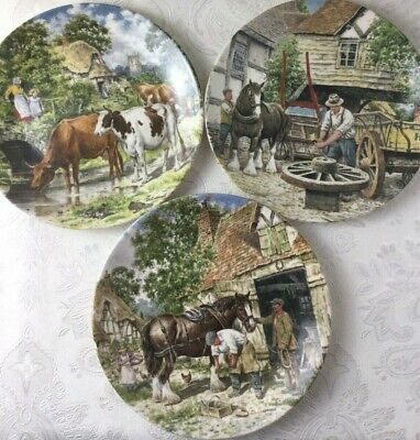 £6.99 • Buy Wedgwood Life On The Farm 3 Decorative Plates 'A Cooling Drink' Horses Y581