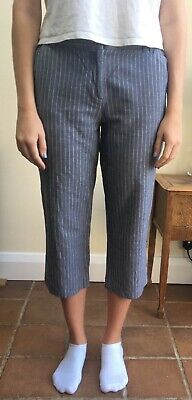 £2 • Buy Boden Light Blue/Grey Linen/Cotton Striped Cropped Trousers | Size 12R